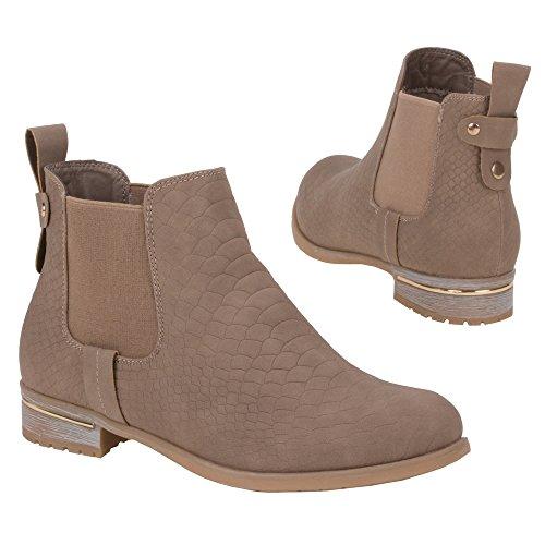 Damen Schuhe, H157, STIEFELETTEN Hellbraun