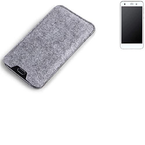 K-S-Trade Filz Schutz Hülle für Vestel V3 5570 Schutzhülle Filztasche Filz Tasche Case Sleeve Handyhülle Filzhülle grau