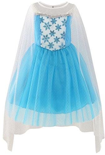 Mädchen Kleid Elsa Prinzessin Kostüm Gr. 122 (Kostüme Kinder Von Tabellen)