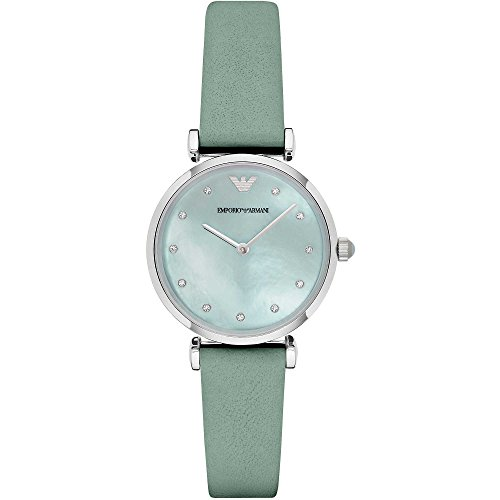 Emporio Armani Women's Quartz Watch with Mother of Pearl Dial Analogue Display and Green Leather Bracelet AR1959