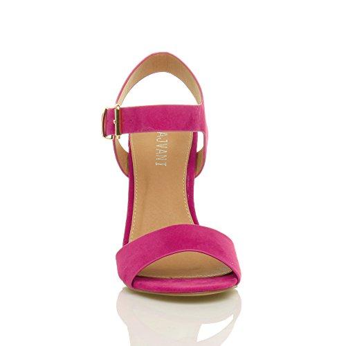Ajvani Donna Tacco Alto Fibbia Casual con Cinturino Alla Caviglia Sandali Scarpe Numero Rosa Fucsia Scamosciata