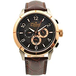 M.Conte Herren-Armbanduhr Chronograph Quarz Leder Braun Rose-Gold Conte-Othon