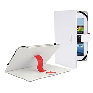 """White Premium PU Luxury Leather Folio / Flip Case Stand Cover Protection Skin Wallet For 7"""" 7 inch Android Tablet PC, ASUS GOOGLE Nexus 7, 2.2 EASY TAB, MID, Apad, Epad, 7 inch Amazon kindle fire, NEW e reader book, Blackberry playerbook, Huawei Mediapad, T-Mobile SpringBoard 7"""", 7"""" Kobo VOX, Nook Color SAMSUNG GALAXY TAB 2 7.0 P3100 P3110/P6200/P1000 Universal"""