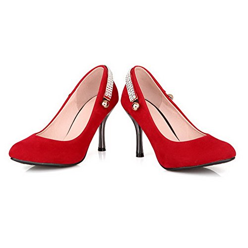 VogueZone009 Damen Nubukleder Eingelegt Spitz Zehe Hoher Absatz Pumps Schuhe Rot