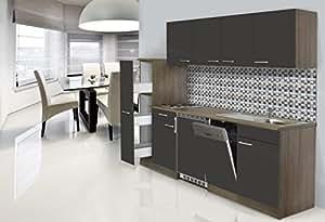 Respekta installation single cuisine intégrée 225 cm imitation chêne york-gris