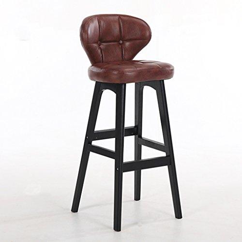 Guo shop- Minimaliste, bois massif, cuir artificiel coussin bar réception européenne chaise en bois banc vintage tabouret de bar hauteur 78cm Bonne chaise (Couleur : Brown, taille : B)