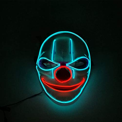 tende Maske Halloween Party Party Clown rote Nase Fluoreszierende Maske Cosplay Halloween-Kostüm,Blue-Voice Control ()