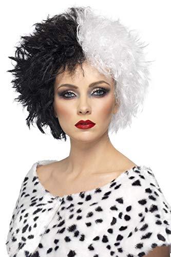 De Vil Adult Kostüm Cruella - Smiffys Damen Kurze Perücke, Böse Madame Perücke, Schwarz und Weiß, One Size, 42117