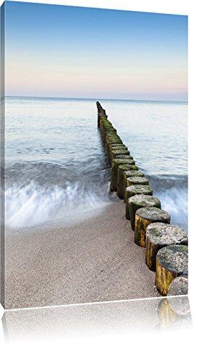 Wellenbrecher im Meer, Format: 60x80 auf hochkantiges Leinwand, XXL riesige Bilder fertig gerahmt mit Keilrahmen, Kunstdruck auf Wandbild mit Rahmen, günstiger als Gemälde oder Ölbild, kein Poster oder Plakat