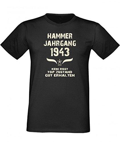 T-Shirt als lustiges Geschenk zum Geburtstag - Hammer Jahrgang 1943 - Fun-Shirt als Geburtstagsgeschenk - Schwarz, Größe:XXL