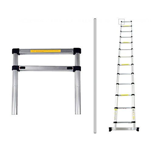 Todeco - Escalera Telescópica, Escalera Plegable - Carga máxima: 150 kg - Material: Aleación de aluminio - 3,8 Metro(s), Barra estabilizadora, Bolsa de transporte GRATIS, EN 131