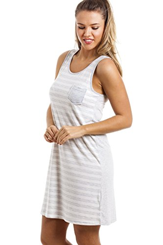 Nachthemd - knielang & ärmellos - grau-weiß gestreift Grau