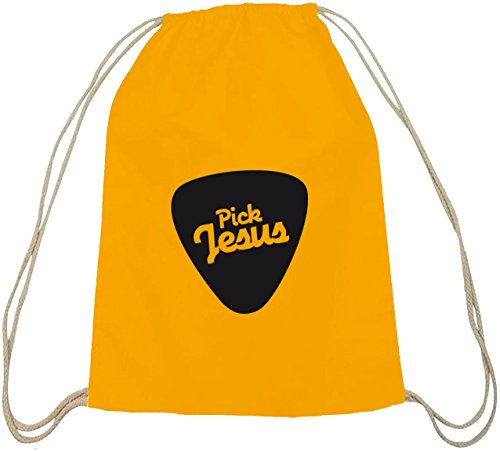 Shirtstreet24, Pick Jesus, christlicher Baumwoll natur Turnbeutel Rucksack Sport Beutel gelb natur