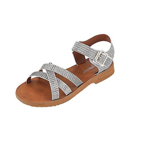Chaussures Plates pour Femmes,LANSKIRT Femme Romain Sandales Été Chaussures Sandales Plates à Un Bouton Sandales Herringbone