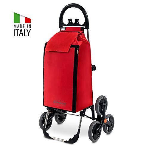 Treppensteiger Einkaufstrolley Seena in rot mit 50L & Kühlfach - Einkaufsroller Trolley bis 30kg belastbar - Gewicht nur 2.5kg