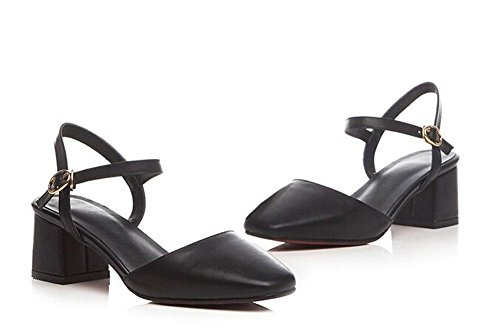 Beauqueen Frauen Pumps Knöchelriemen Chunky Low Heel Sommer Freizeit Sandalen Weiß Schwarz Europa Größe 34-39 Black