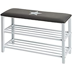 STORE, IT 670209zapato Banco/zapatero con asiento cojín–Vintage Print, metal y piel sintética, gris, 78x 48x 30cm