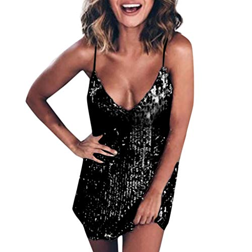 VJGOAL Damen Röcke, Mode Trends 2019 Damen Sexy Kleid Sparkle Pailletten V Ausschnitt Ärmellos Party Club Minikleid(Schwarz,42)