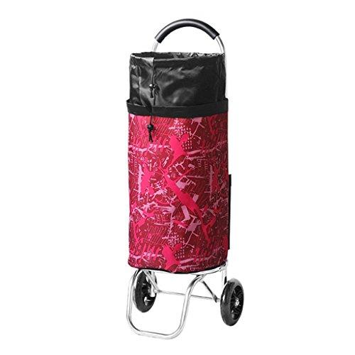 Aluminiumlegierung-Einkaufswagen-Laufkatze-Treppe, die Wagen klettert 2 PU-Lager-Rad zusammenklappbare Ziehwagen Großes Gepäck-Schulter-Beutel-Wagen Große Kapazität 42L für Mobilität ( Farbe : Red )