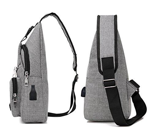 YOUJIA Sling Rucksack mit USB-Batterieladung-Anschluss Crossbody Canvas Brusttasche für Männer Damen Leichte Wandern Reise Rucksack (#1 Schwarz) #1 Hell Grau