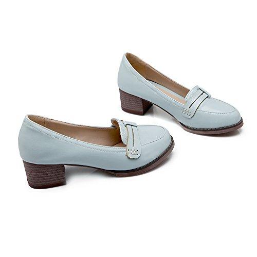 BalaMasa antiscivolo, da donna con tacco basso, in pelle, per scarpe Imitated pompe Blue
