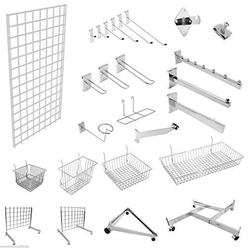 Gridwall-Aufbewahrungs- und Präsentationssystem für Geschäfte, vielseitig anpassbar mit Haken, Armen usw., Gitterwand verchromt, silber, Hanging Rail Bracket -
