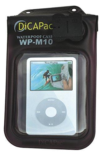 Dicapac WPM10 Wasserdichte Schutzhülle für MP3-Player, iPod Nano und Sansa Clip (passend bis 147x84mm, UV-Schutz, wasserdichter Kopfhörer-Adapter, schwimmt) - Wasserdicht Schwimmt