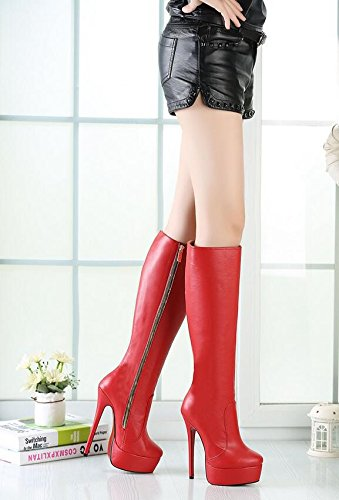 HeiSiMei Damen High-heeled Stiefel / Stiletto-Fersen / Over-the-Knie-Stiefel / runde Zehe / Dicke untere wasserdichte Plattform / Office & Karriere / Party & Abend / Hochzeit / Kleid / Super High Heel RED-43