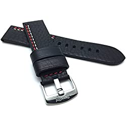 22mm Black High Quality Leather Watch Strap Band with White/Red Stitching and Stainless Steel Buckle