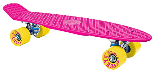 SPOKEY® CRUISER Retro Skateboard (22'' Zoll Rollbrett Kunststoff 70s 80s Style 70er 80er Jahre Stil Diverse Farben) , Farben:Rosa-Gelb