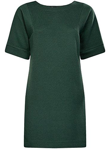 oodji Ultra Femme Robe Coupe Ample en Maille Côtelée Vert (6900N)