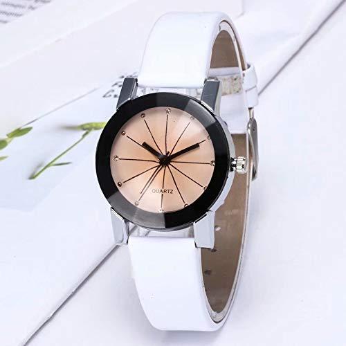 Preisvergleich Produktbild Männer Frauen-Quarz-Dial Uhr Leder Armbanduhr runde Gehäuse