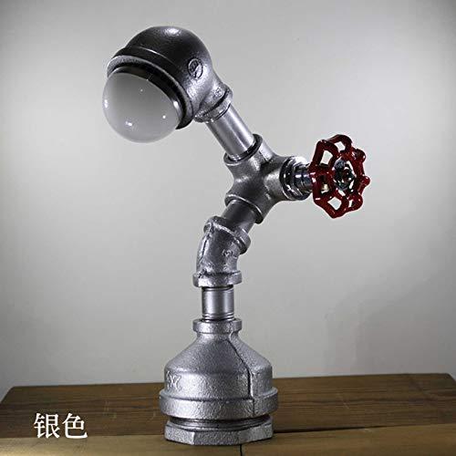 OLDJTK Lampada da scrivania robot vintage retrò tubo di acqua, lampada da tavolo a led in metallo accento lampade luce notturna a risparmio energetico, lettura americana scrivania illuminazione como
