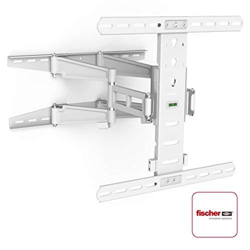 Hama TV-Wandhalterung Ultraslim (neigbar, schwenkbar, vollbeweglich für Fernseher von 32 - 55 Zoll (81 cm bis 142 cm Diagonale), inkl. Fischer Dübel, VESA bis 400x400, max. 35 kg) weiß