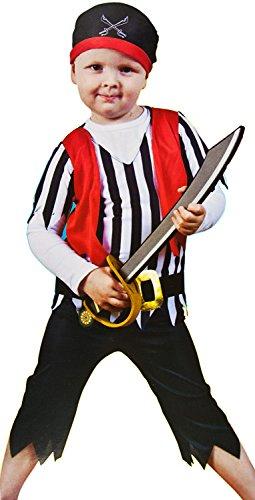 �m 4-tlg. See-Räuber Verkleidung Fasching Karneval Halloween Hose Oberteil Gürtel Mütze Fluch Junge Mädchen (Halloween-kostüm-räuber)