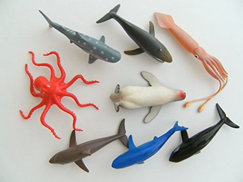 Meerestiere 8erSet ca 11cm Wassertiere Krake Pinguin Hai Wal Delfin Orca (Kostüm Kind Orca)