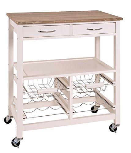 Weiß Geschirrwagen (Großer Küchenwagen in weiß-eiche hell mit Obstkorb, Schubladen und vieles mehr; Maße (B/T/H) in cm: 68 x 37 x 84)
