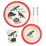 Rex London Lot de 5 Couverts en Bambou pour Enfant Motif Dinosaures