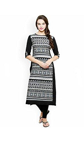 AnjuShree Choice Women's Cotton Kurti (ASC038_L_40_Black_Large)