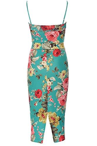 Fashion teir maniche da quasi a forma di fiore di stampa chiavi, fori tesoro, sagomata Vert Floral