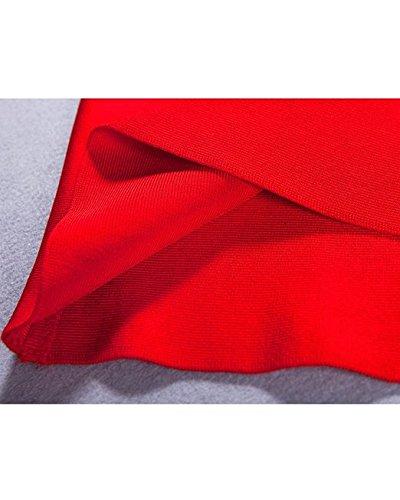 High Neck decorative Bodycon Whoinshop donna Mini vestito da festa dell'abito benda dell'abito Rosso