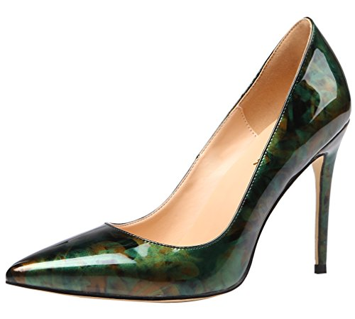 AOOAR Damen High-Heel Mehrfarbig Dunkelgrün Lackleder Party Pumps EU 40/9 US