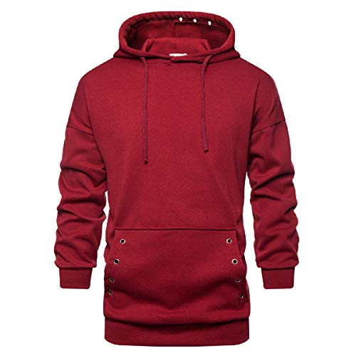 VITryst Mens Solid Color Pockets Mid Long Oversized Hooded Sweatshirt Red L Youth Zip-front Hoodie