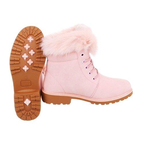 Damen Stiefeletten Worker Schnür Ankle Boots Trekking Outdoor Knöchelhohe Stiefel Schuhe Kurzschaft Warm Gefüttert 853 Pink