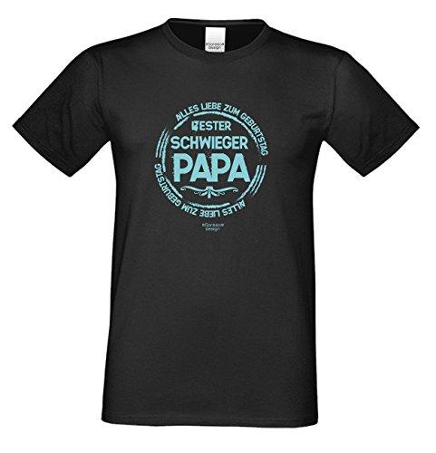 Geburtstagsgeschenk Papa Vater Schwiegervater :-: Motiv Kurzarm T-Shirt mit Geburtstagsaufdruck :-: Bester Schwiegerpapa :-: auch in Übergrößen 3XL 4XL 5XL :-: Farbe: schwarz Schwarz