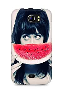 Amez designer printed 3d premium high quality back case cover for Micromax Canvas 2 A110 (Girl with Watermelon)