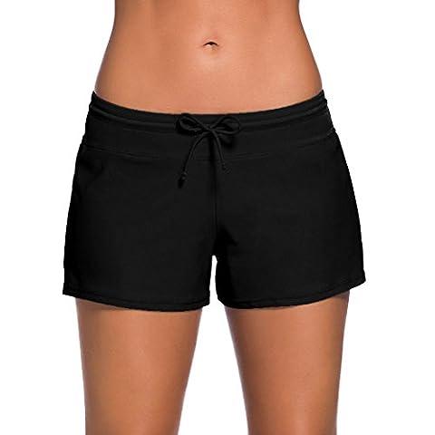 YoungSoul Shorts de bain femme - Maillot de bain boxer cordon de serrage - Tankini shorty - Uni - Bas de maillots Noir EU 48-50