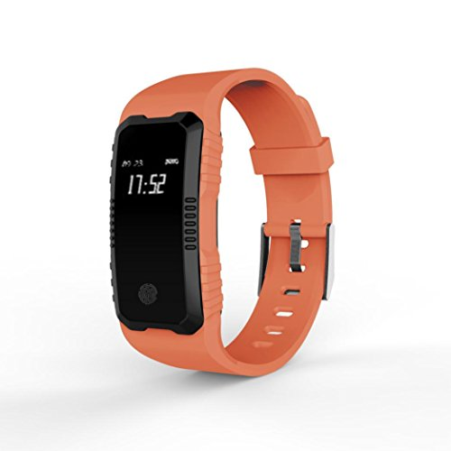 TPulling Mode Herzfrequenz-Blutdruckmessgerät Slot Handgelenk wasserdichte Bluetooth Smart Watch Tracker Smart Watch Wasserdichte Fitness Armband Sport mit Android iOS Leder (Orange)