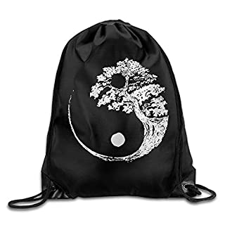 Icndpshorts Yin Yang Bonsai Tree Drawstring Backpack Beam Mouth School Travel Backpack Shoulder Bags for Men & Women