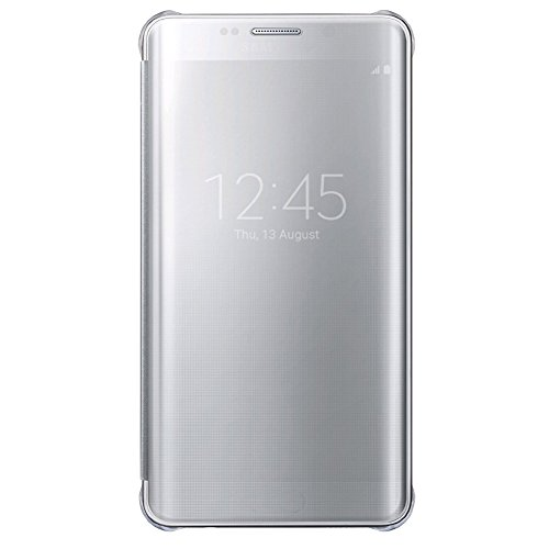 Caryycy lusso elegante glitter smart flip ultra slim view electroplated specchio rigida trasparente per custodia per samsung galaxy s6 edge, argento
